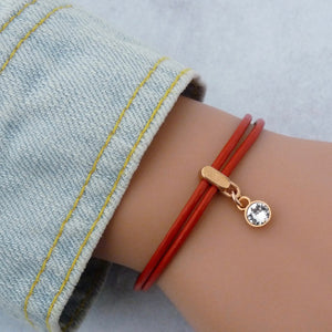 Leather bracelet with Swarovski crystal, rose gold and red
