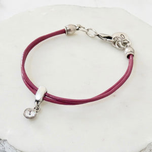 Leather bracelet with Swarovski crystal, silver and berry