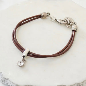 Leather bracelet with Swarovski crystal, silver and bronze