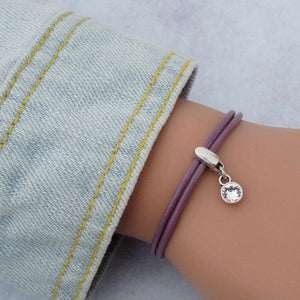 Leather bracelet with Swarovski crystal, silver and lilac