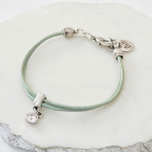 Leather bracelet with Swarovski crystal, silver and aqua