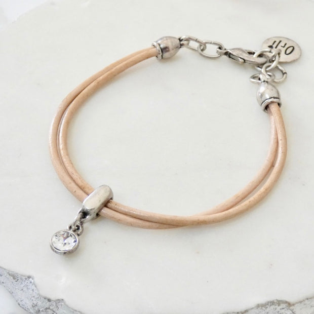 Leather bracelet with Swarovski crystal, silver and nude - Orli Jewellery