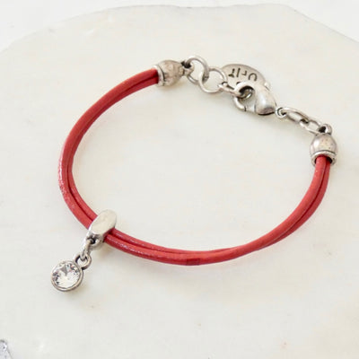Leather bracelet with Swarovski crystal, silver and red - Orli Jewellery
