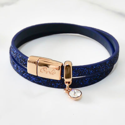 Glitter cord magnetic wrap bracelet, rose gold and royal blue - Orli Jewellery