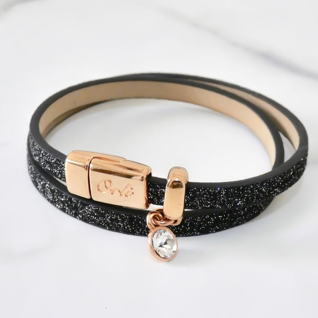 Glitter cord magnetic wrap bracelet, rose gold and black - Orli Jewellery