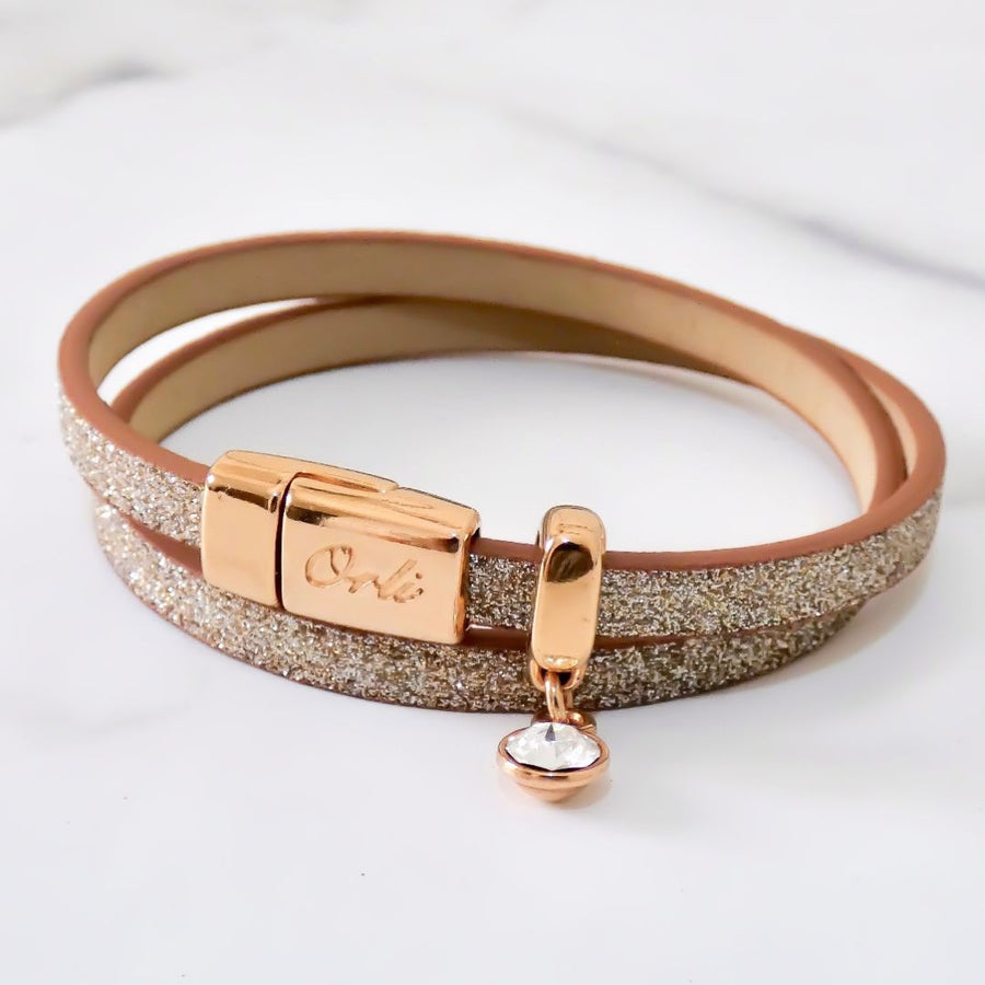 Glitter cord magnetic wrap bracelet, rose gold and champagne