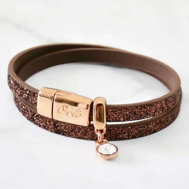 Glitter cord magnetic wrap bracelet, rose gold and copper - Orli Jewellery