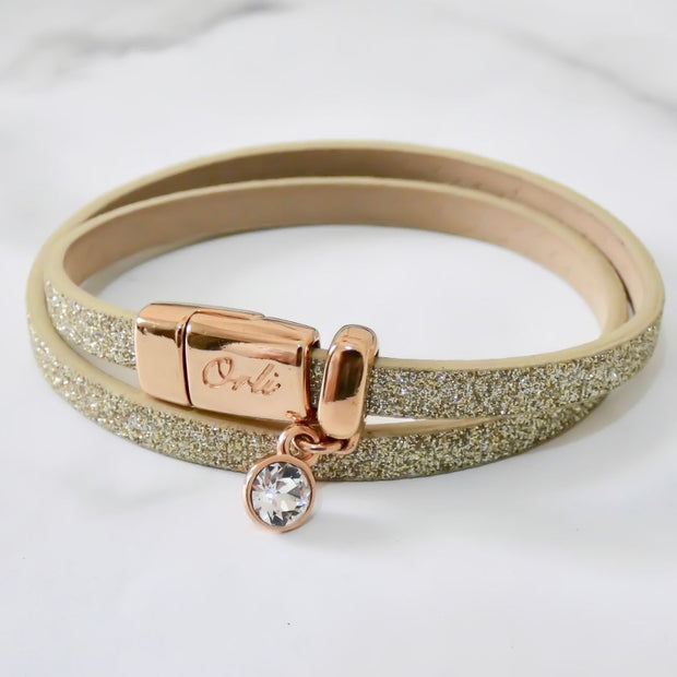Glitter cord magnetic wrap bracelet, rose gold and gold - Orli Jewellery