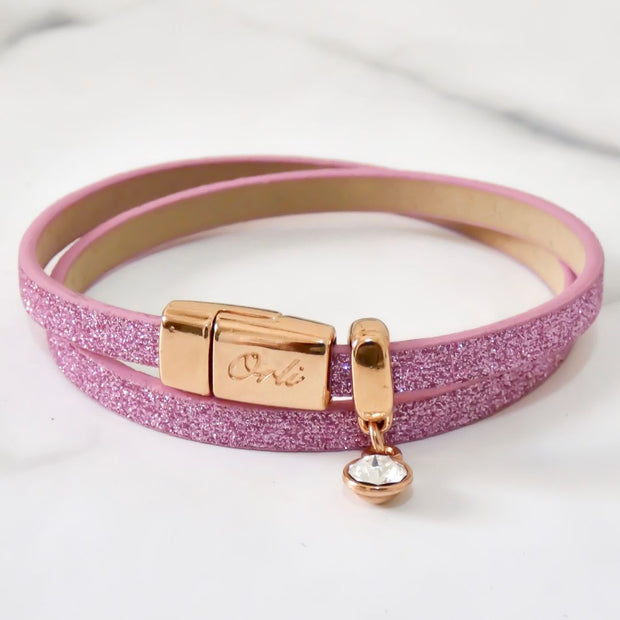 Glitter cord magnetic wrap bracelet, rose gold and light pink - Orli Jewellery