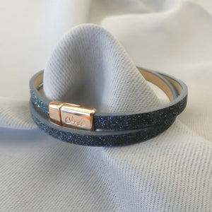 Glitter cord magnetic wrap bracelet, rose gold and midnight