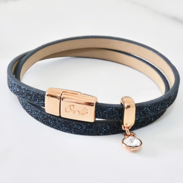Glitter cord magnetic wrap bracelet, rose gold and midnight - Orli Jewellery