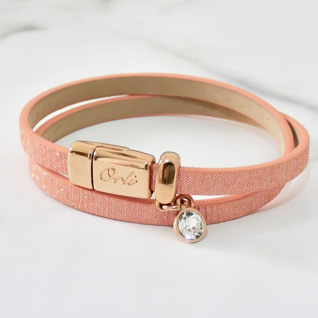 Glitter cord magnetic wrap bracelet, rose gold and peach - Orli Jewellery