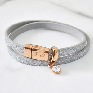 Glitter cord magnetic wrap bracelet, rose gold and silver