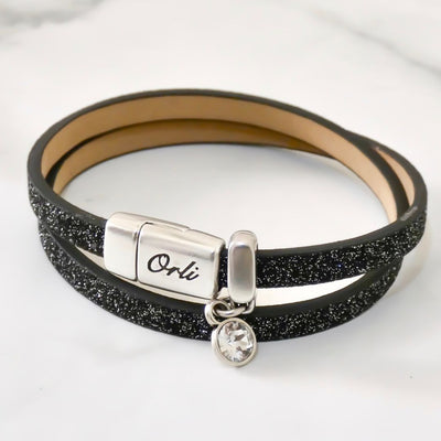 Glitter cord magnetic wrap bracelet, silver and black - Orli Jewellery