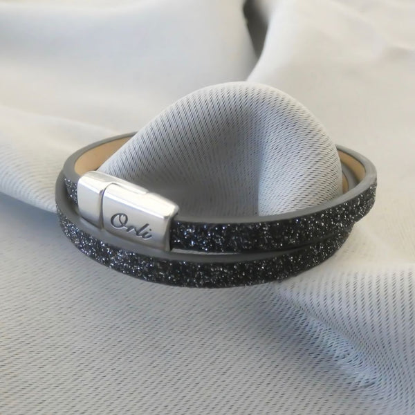 Glitter cord magnetic wrap bracelet, silver and black
