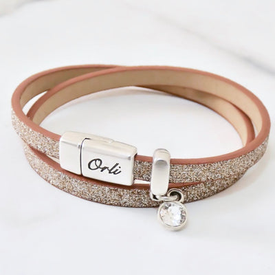 Glitter cord magnetic wrap bracelet, silver and champagne - Orli Jewellery