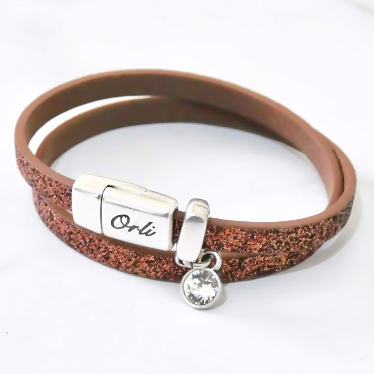 Glitter cord magnetic wrap bracelet, silver and copper - Orli Jewellery