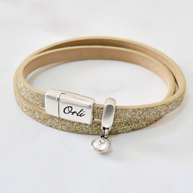 Glitter cord magnetic wrap bracelet, silver and gold - Orli Jewellery