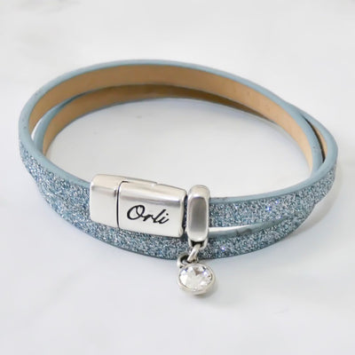 Glitter cord magnetic wrap bracelet, silver and light blue - Orli Jewellery