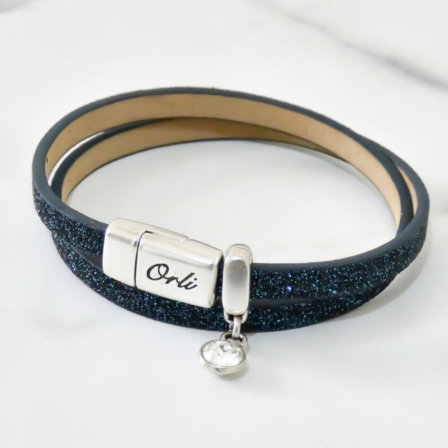 Glitter cord magnetic wrap bracelet, silver and midnight