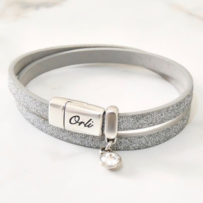 Glitter cord magnetic wrap bracelet, silver and silver - Orli Jewellery