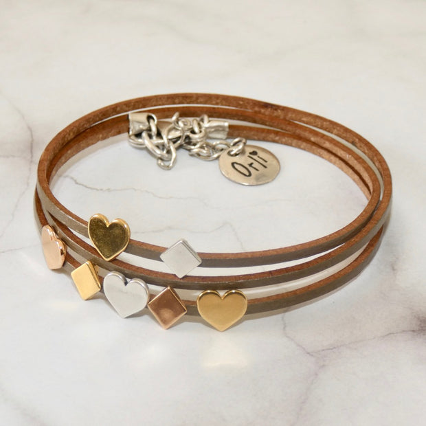 Hearts and diamonds leather wrap bracelet, olive - Orli Jewellery