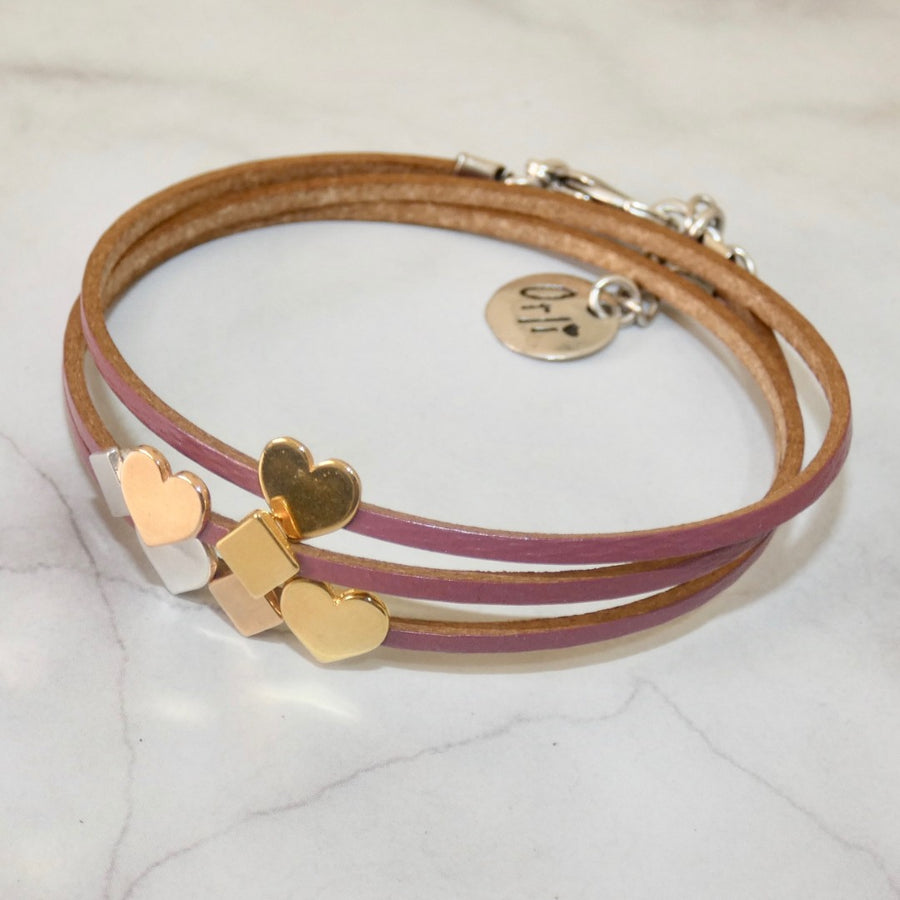 Vegan leather wrap bracelet, dusky pink