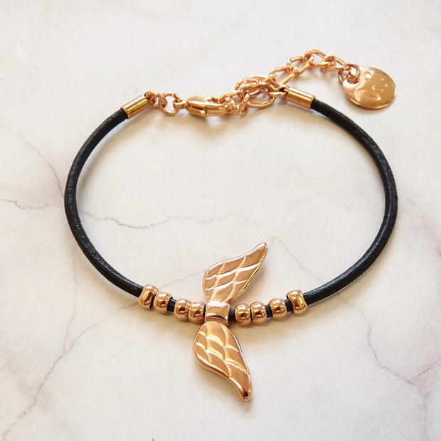 Leather bracelet with angel wings, rose gold and black - Orli Jewellery