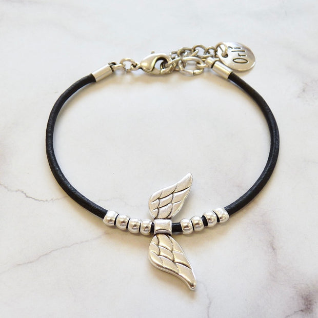 Leather bracelet with angel wings, silver and black - Orli Jewellery