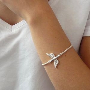 Leather bracelet with angel wings, silver and nude