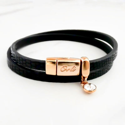 Snake-look faux leather magnetic wrap bracelet, rose gold and black