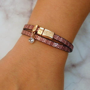 Snake-look faux leather magnetic wrap bracelet, rose gold and pink