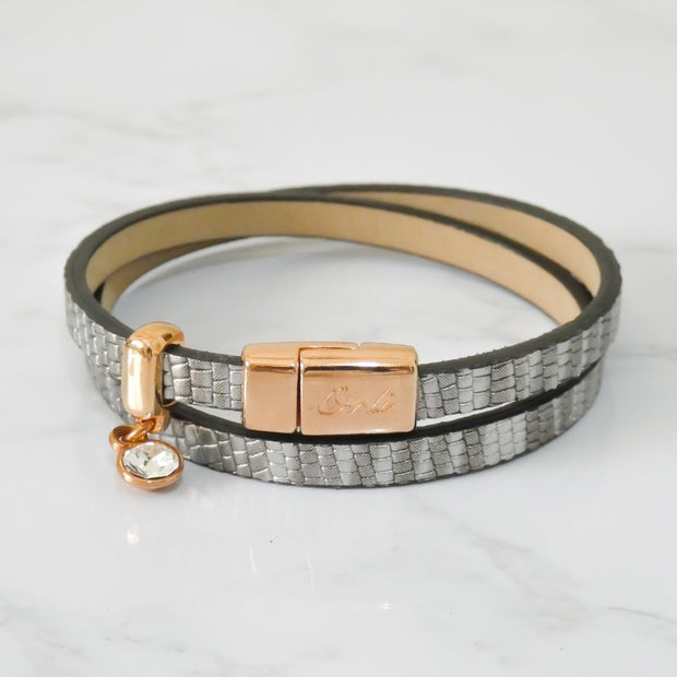 Snake-look faux leather magnetic wrap bracelet, rose gold and silver
