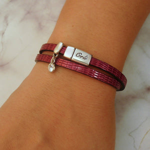 Snake-look faux leather magnetic wrap bracelet, silver and berry