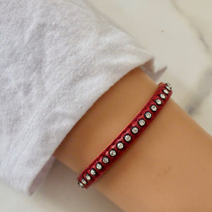 Swarovski crystals leather bracelet, red