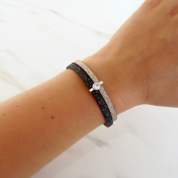 Double glitter cord magnetic bracelet, black and champagne - Orli Jewellery