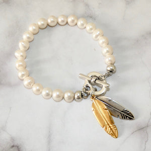 Twin feathers pearl t-bar bracelet, silver and gold