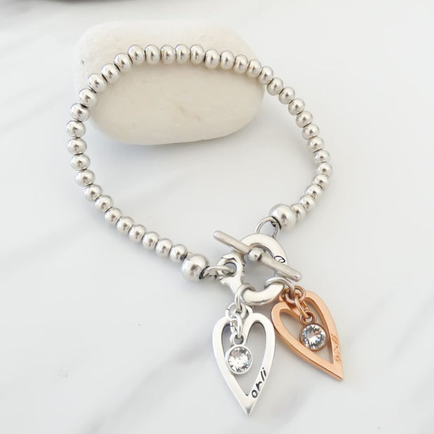 Twin hearts and Swarovski crystals beads t-bar bracelet, silver and rose gold