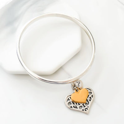 Filigree and mini heart bangle, silver and yellow gold - Orli Jewellery