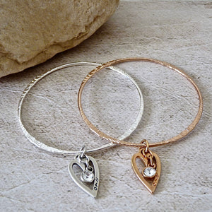 Thin bangle with mini open heart and crystal
