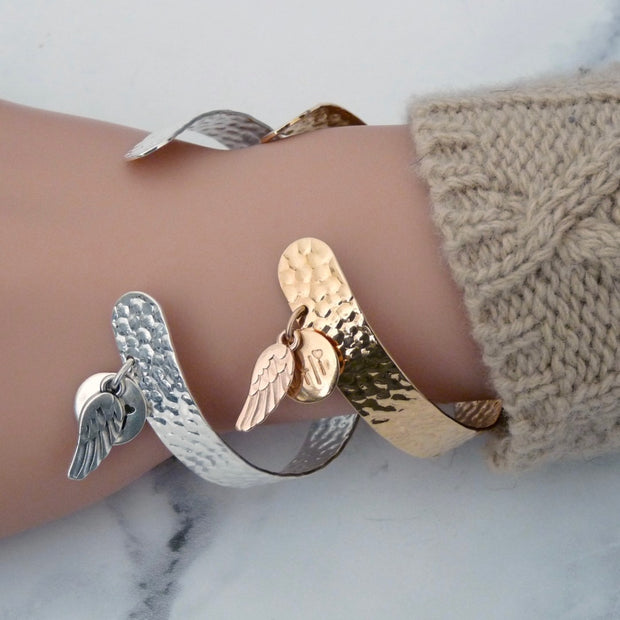 Hammered open cuff with angel wing - Orli Jewellery