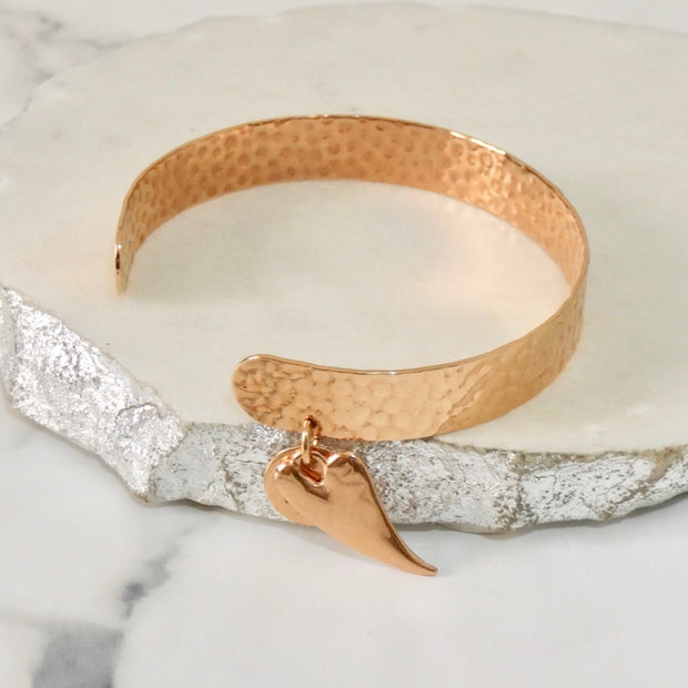 Hammered open cuff with chilli heart, rose gold - Orli Jewellery