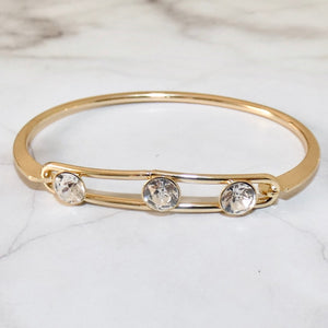 Triple crystal lock bangle, gold