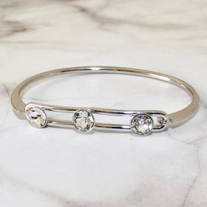Triple crystal lock bangle, silver