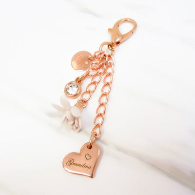 Grandma charm and birthstone keyring, rose gold and nude