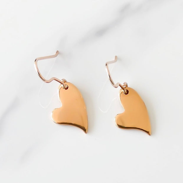Mini curved heart hook earrings, rose gold