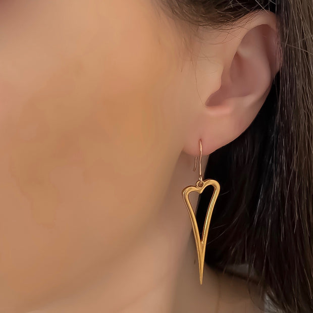 Open pointed heart earrings, rose gold