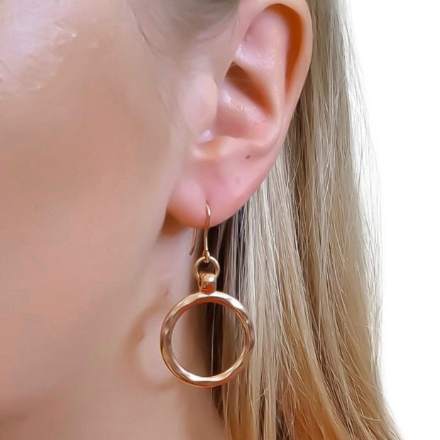 Small hammered circle hook earrings, rose gold