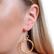 Large hammered circle hook earrings, yellow gold