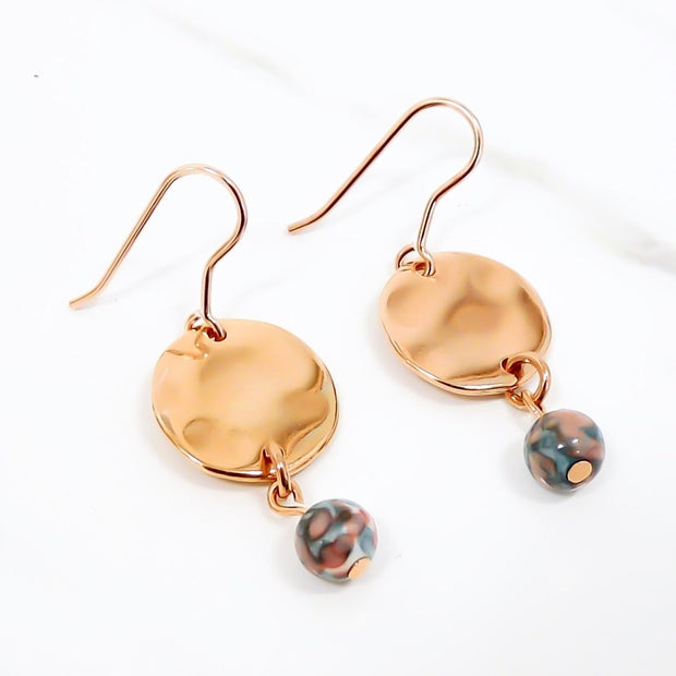 Hammered disc and stone earrings, rose gold and blue/pink